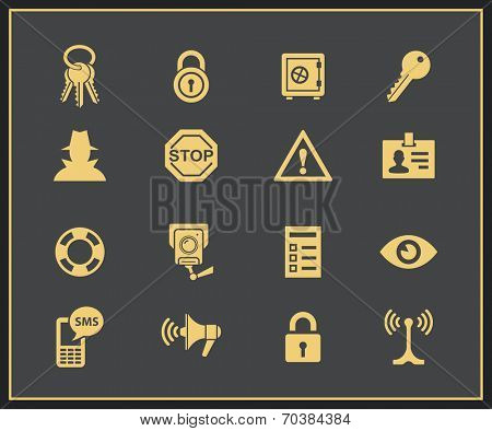 Security and warning icons. Vector Illustration