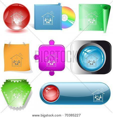 Home celebration. Vector internet buttons.