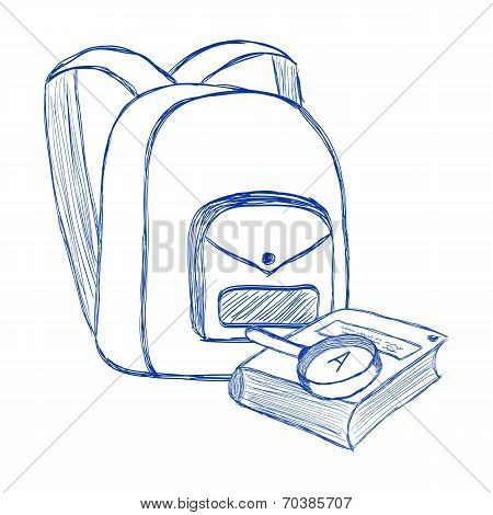 School bag and book contour style ballpoint pen
