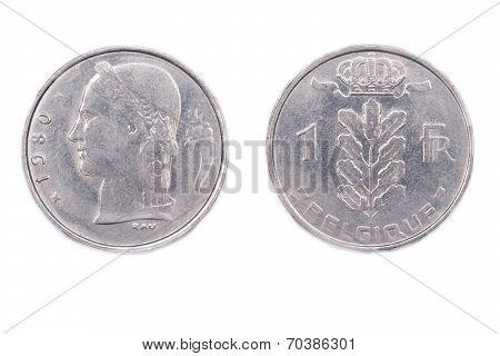 One Belgian Franc - 1980.