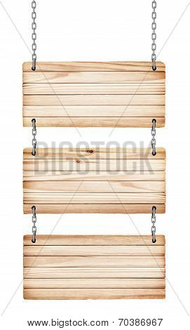 Vintage Wooden Signs On White Background Isolated