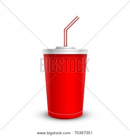 Red disposable cup with drinking straw. Isolated on white