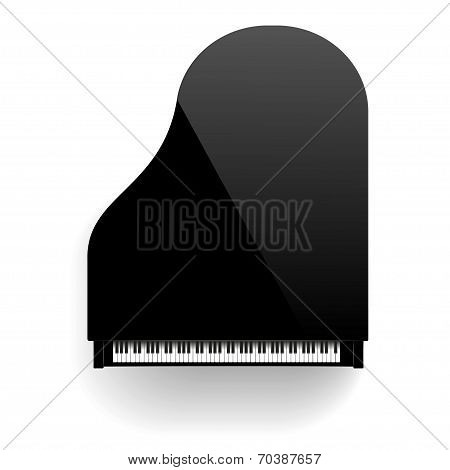 Black grand piano top view.