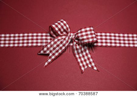 Claret Greeting Card With Red White Checked Ribbon