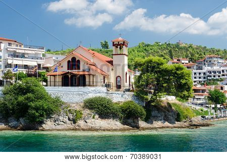Greece, Sithonia, The Church On The Waterfront In Neos Marmaras