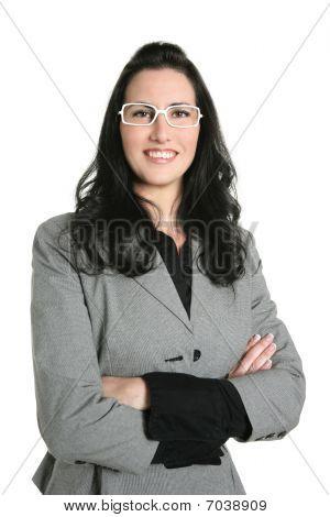 Businesswoman Brunette Gray Suit Portrait