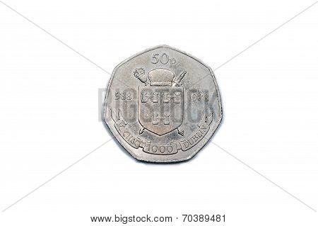 Irish fifty pence coin - Dublin Millenium.