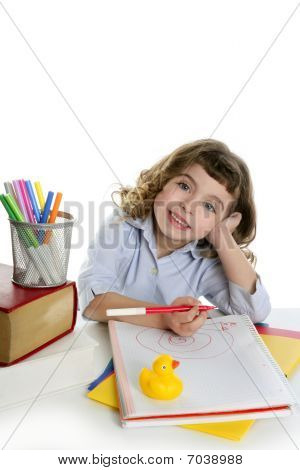 Little Girl Happy Student On Desk Writing