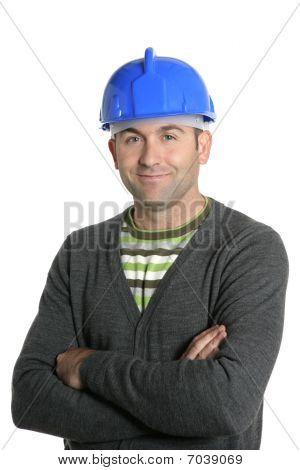 Blue Hardhat Foreman Portrait In White