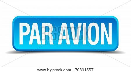 Par Avion Blue 3D Realistic Square Isolated Button