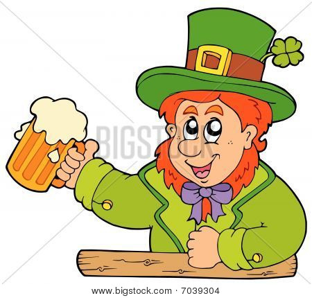 Cartoon leprechaun with beer