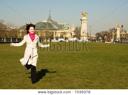 Cheerful Beautiful Woman Having Fun In Paris