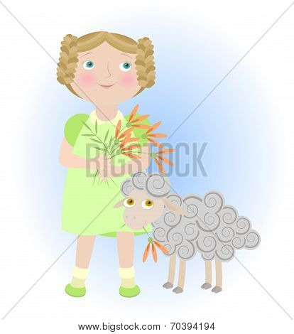 Cartoon Girl With Sheep Illustrating Aries Zodiac Sign. Objects Grouped And Named In English. No Mes