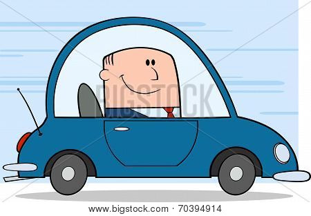Businessman Driving Car To Work Character On Background