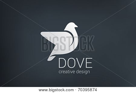 Logo Dove flying vector design template. Bird abstract logotype concept.