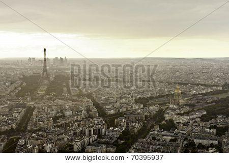 Eiffel Tower (tour Eiffel) In Paris At Atmospheric Dusk