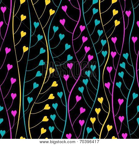Seamless Pattern With Hearts And Wavy Lines.no Mesh, Gradient, Transparency Used. Objects Grouped An