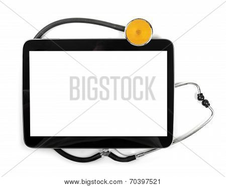 Blank Digital Tablet And Stethoscope Isolated On White