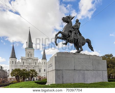 Saint Louis Cathedral And Statue Of Andrew Jackson, New Orleans, Usa.