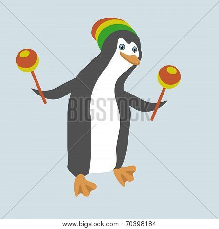 Funny Dancing Penguin With Maracas. No Mesh, Gradient, Transparency Used. Objects Grouped And Named