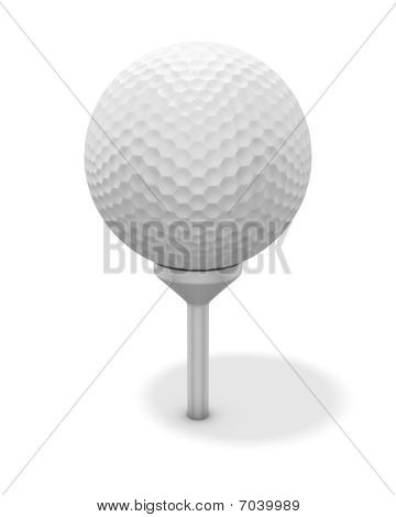 Golf Ball On Red Tee - With Clipping Path