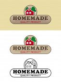image of farmhouse  - Homemade Product Label with Farmhouse Vector Illustration - JPG