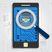 image of malware  - Malware detected on smartphone represented by a magnifying glass focusing on the figure of a thief - JPG