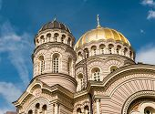 picture of cupola  - Cupolas of the Orthodox Cathedral in Riga - JPG