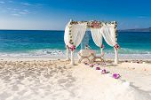 image of wedding arch  - beach wedding set up - JPG