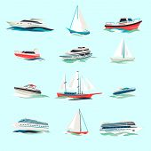 stock photo of passenger ship  - Marine boats cruise sea travel yacht motor vessels flat icons set with jet cutter abstract isolated vector illustration - JPG