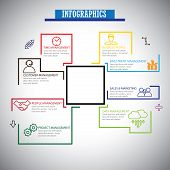stock photo of customer relationship management  - flat line infographics icons set of management  - JPG