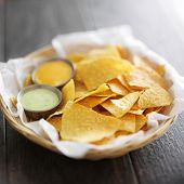 foto of chipotle  - mexican corn tortilla chips with jalapeno and chipotle mayo dipping sauce - JPG