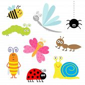 stock photo of caterpillar cartoon  - Cute cartoon insect set - JPG