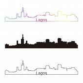 stock photo of lagos  - Lagos skyline linear style with rainbow in editable vector file - JPG