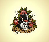 pic of cylinder  - Figure Skull in roses done in retro style - JPG
