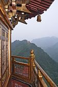 picture of shan  - photo of golden chinese pagoda with a view to green mountainsLocation  - JPG