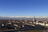 pic of turin  - Panoramic view of Turin with the Mole Antonelliana and snowy Alps in the background.