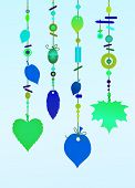 picture of windchime  - Illustration of Decorative Wind Chimes with floral leaf shape design - JPG