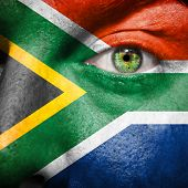 picture of afrikaner  - South African flag painted on a man - JPG