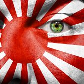 foto of japanese flag  - Japanese naval ensign painted on a man - JPG