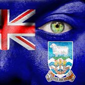 stock photo of falklands  - Face with Falkland Islands flag painted tp show support - JPG