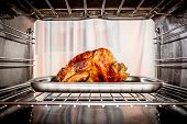 picture of oven  - Roast chicken in the oven - JPG