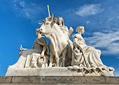 foto of kensington  - Closeup of stone statues at the Albert Memorial in Kensington Gardens - JPG