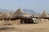 stock photo of sudan  - Small village of thatched huts in South Sudan - JPG