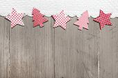 foto of strip  - Top view of star and pine tree decoration with crochet strip on wooden background for christmas - JPG