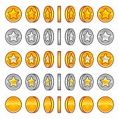 picture of golden coin  - Vector star coins rotation set - JPG