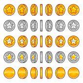 image of golden coin  - Vector star coins rotation set - JPG