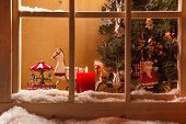pic of rock star  - Atmospheric Christmas Window Sill Decoration:snow,tre E,candle,rocking Horse And Carousel
