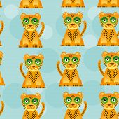 image of bobcat  - Seamless pattern with funny cute jaguar animal on a blue background - JPG