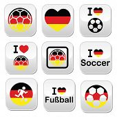 picture of offside  - Soccer ball with flag of Germany vector buttons set isolated on white - JPG